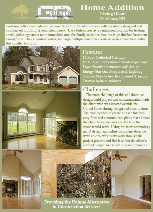 NH Home Addition Additions Builder Builders Granite Roots Construction